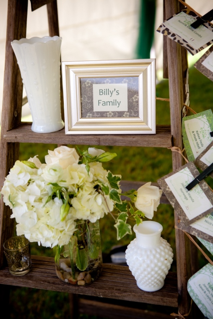 Shabby Chic Place Card Display and Milk Glass Pieces